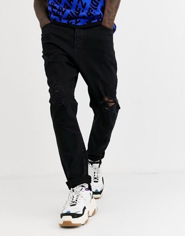 エイソス メンズ デニムパンツ ボトムス ASOS DESIGN drop crotch jeans in washed black with heavy rips Washed black