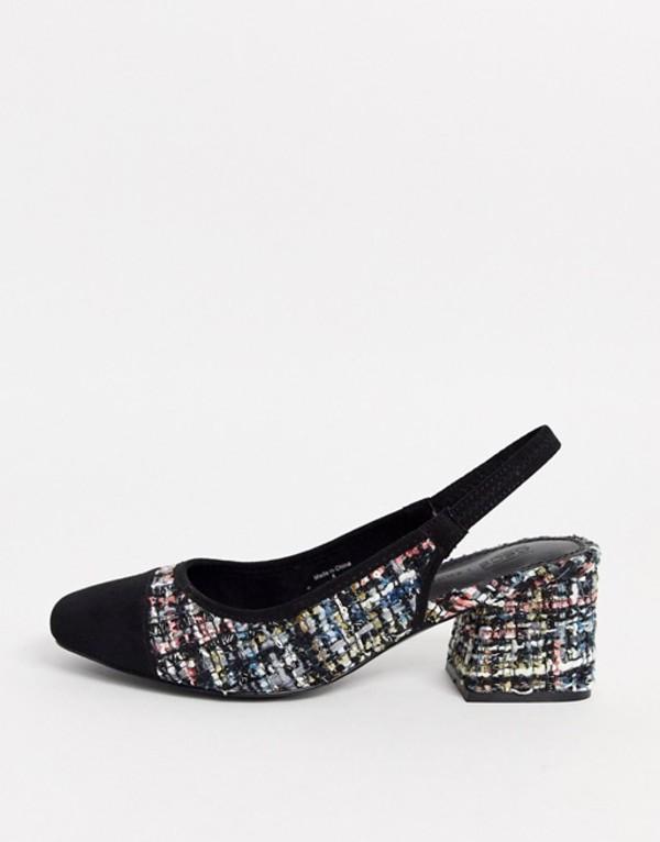 エイソス レディース ヒール シューズ ASOS DESIGN Wide Fit Whisker slingback mid heels in tweed Boucle/black