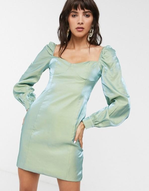 グラマラス レディース ワンピース トップス Glamorous mini dress with structured bust in metallic taffeta Aqua turq