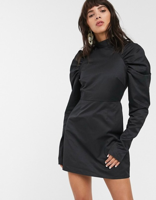 グラマラス レディース ワンピース トップス Glamorous mini shift dress with structured puff sleeves Black