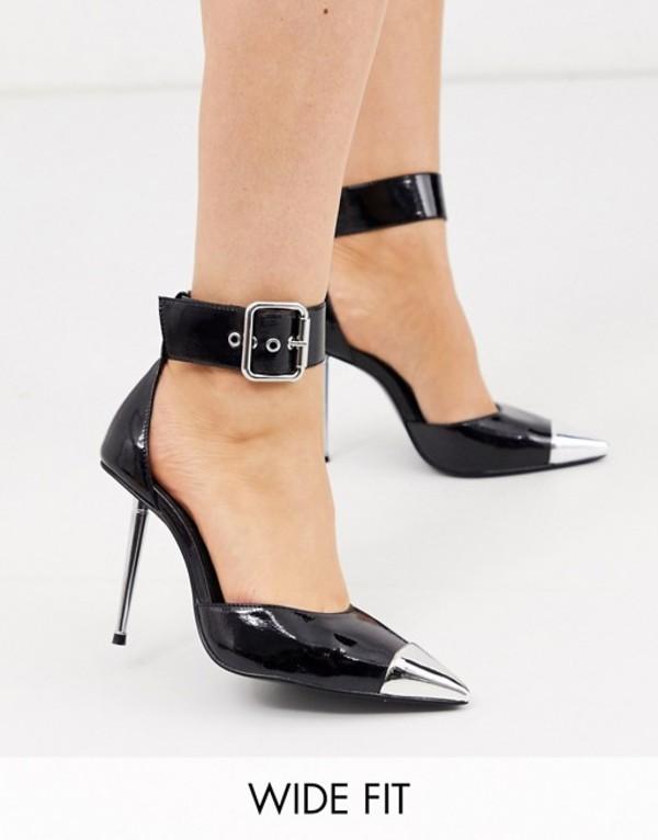 エイソス レディース ヒール シューズ ASOS DESIGN Wide Fit Pierce stiletto heels with toe cap in black patent Black patent