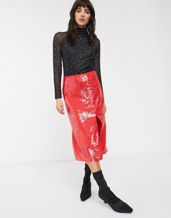 グラマラス レディース スカート ボトムス Glamorous midi pencil skirt in premium sequin Cherry red