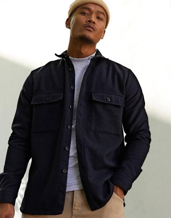 エイソス メンズ シャツ トップス ASOS DESIGN navy wool mix overshirt with double pockets Navy