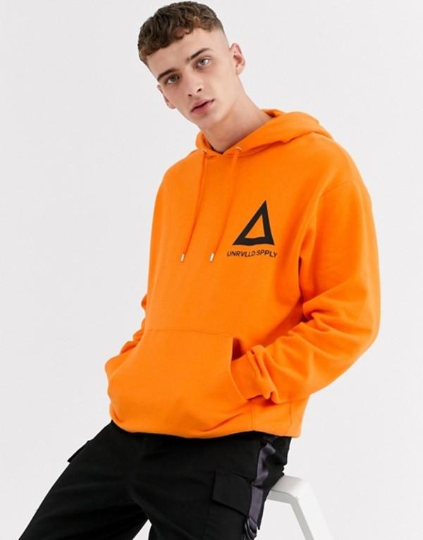 エイソス メンズ パーカー・スウェット アウター ASOS DESIGN oversized hoodie with triangle print in bright orange Persimmon orange