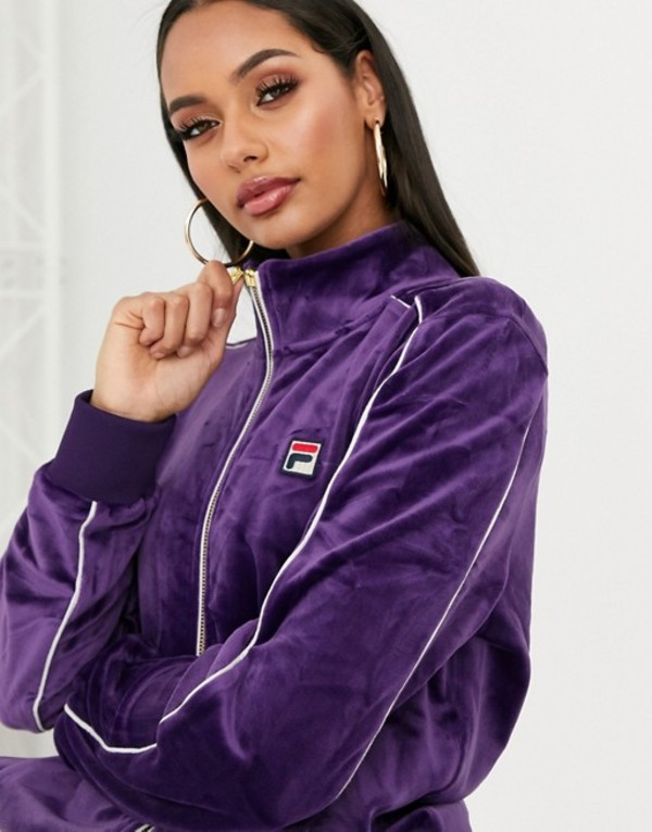 フィラ レディース パーカー・スウェット アウター Fila tracksuit top with chest logo in velvet two-piece Purple