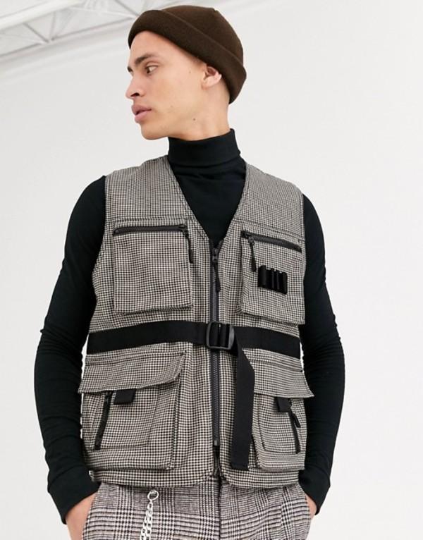 エイソス メンズ タンクトップ トップス ASOS DESIGN utility vest in check Multi