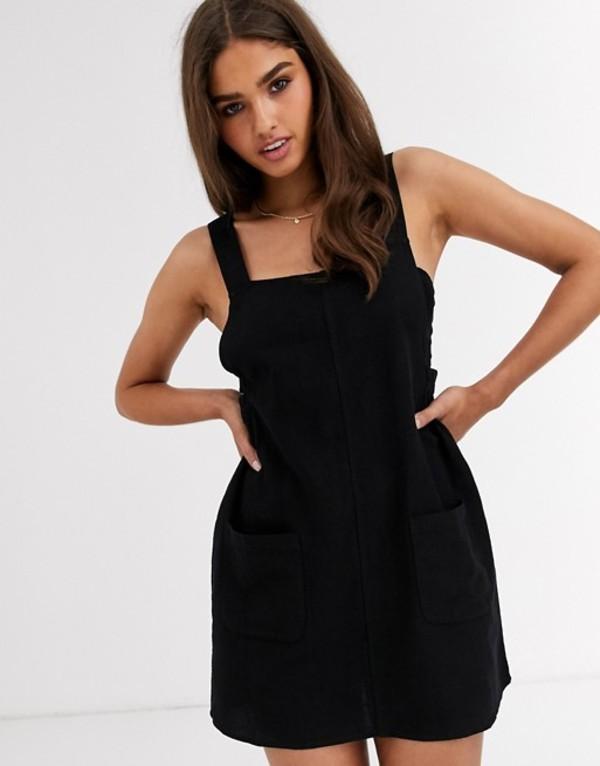 リズム レディース ワンピース トップス Rhythm Verona dress with front patch pocket in black Black