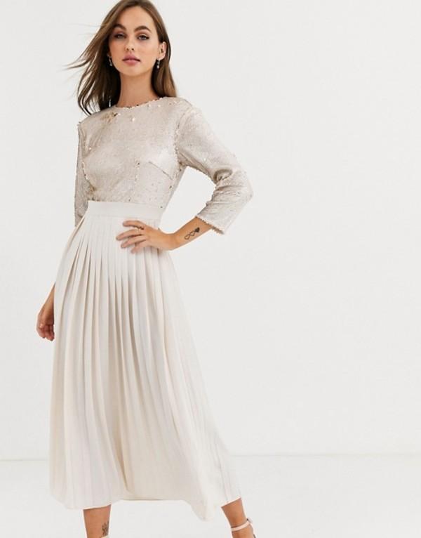リトルミストレス レディース ワンピース トップス Little Mistress pleated midaxi dress with sequin detail in cream and gold Cream