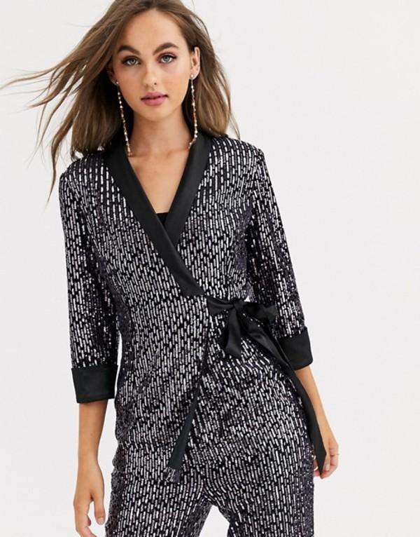 リトルミストレス レディース ジャケット・ブルゾン アウター Little Mistress tailored sequin wrap blazer in black two-piece Black