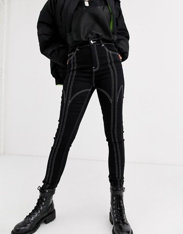 エイソス レディース デニムパンツ ボトムス ASOS DESIGN Ridley high waisted ankle grazer with multi stitch seam detail Black