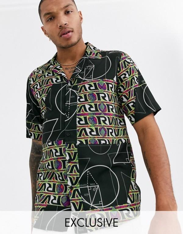 リクレイム ヴィンテージ メンズ シャツ トップス Reclaimed Vintage patchwork rave print shirt Black