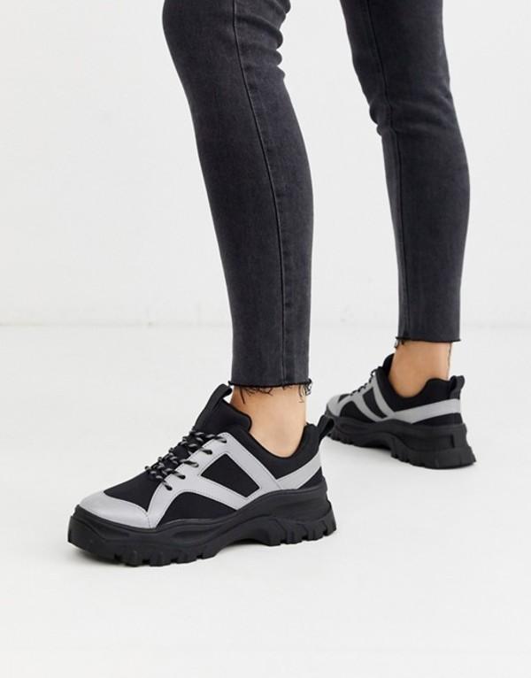 モンキ レディース スニーカー シューズ Monki reflective chunky sneakers in black Black