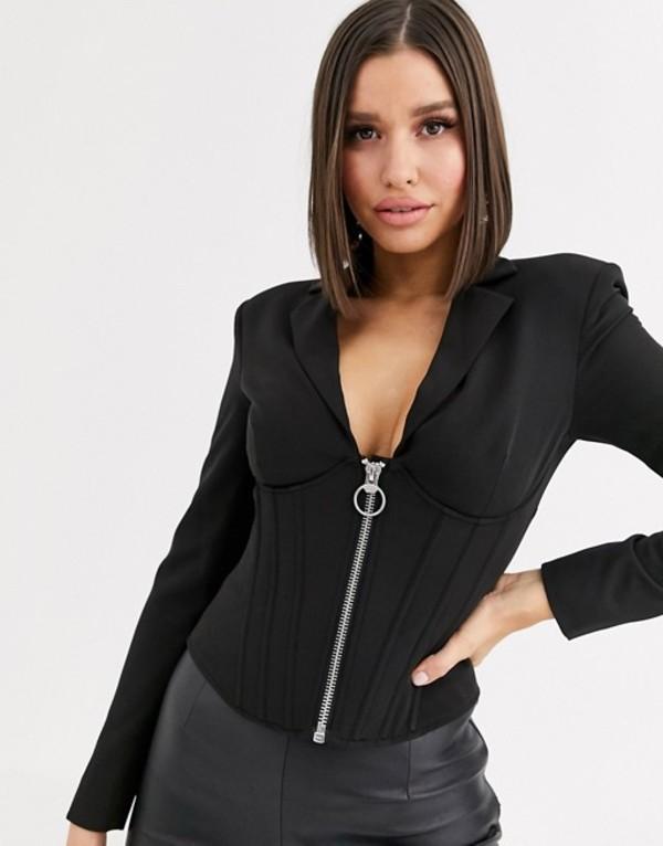 エイソス レディース ジャケット・ブルゾン アウター ASOS DESIGN corset blazer with boning Black