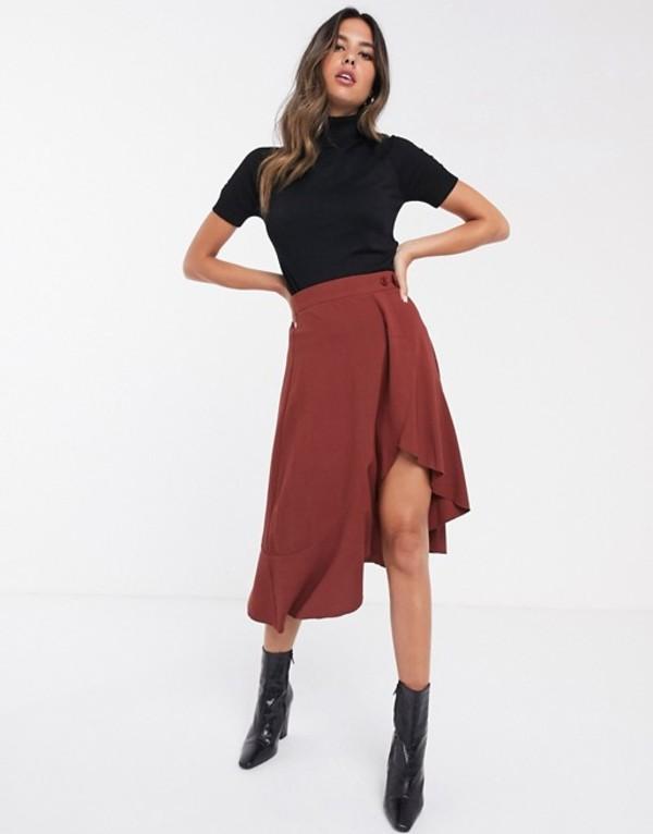 ユニークトゥエンティワン レディース スカート ボトムス Unique21 asymmetric wrap skirt with button detail Copper