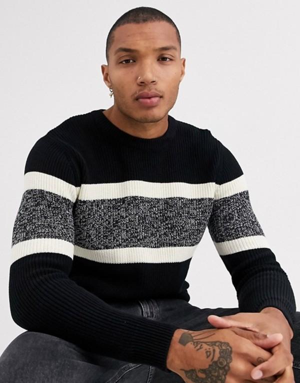 プルアンドベアー メンズ ニット・セーター アウター Pull&Bear crew neck sweater with chest stripe in black Black
