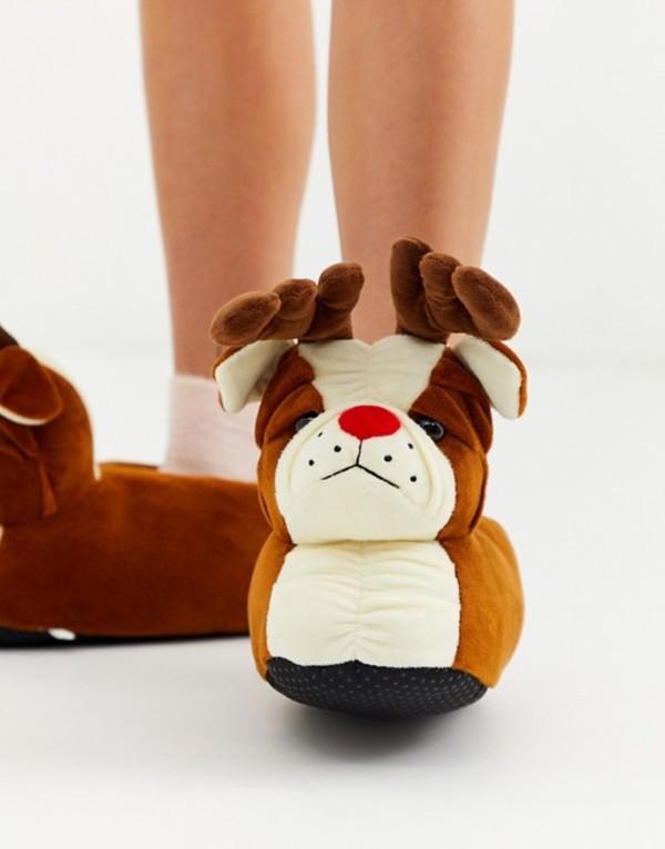 ラウンジャブル レディース サンダル シューズ Loungeable Holidays bulldog with antlers slippers in brown Brown