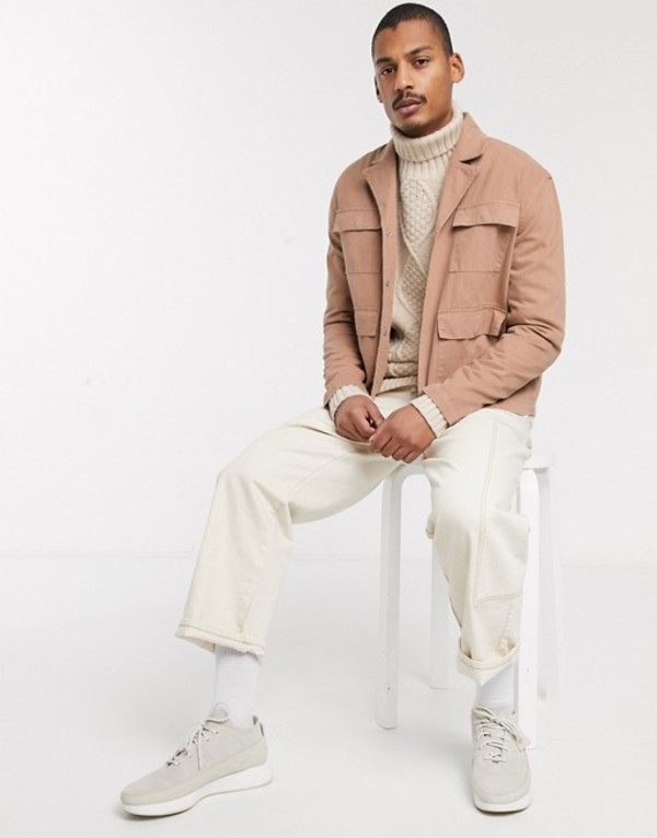 エイソス メンズ ジャケット・ブルゾン アウター ASOS DESIGN denim jacket with revere neck in tan Tan