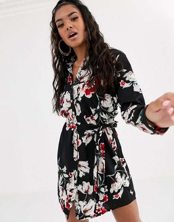 ブーフー レディース ワンピース トップス Boohoo shirt dress with removeable belted waist in black floral Multi