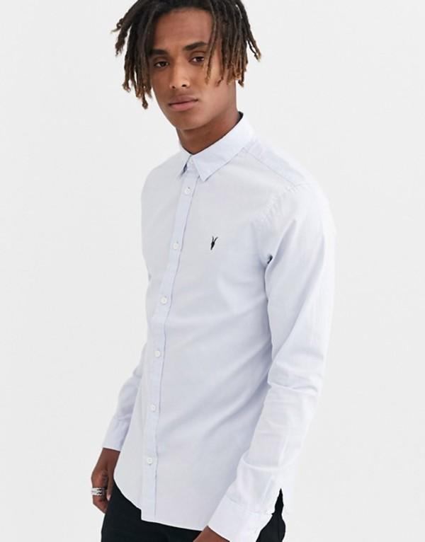 オールセインツ メンズ シャツ トップス AllSaints Redondo ramskull logo long sleeve shirt in light blue Light blue