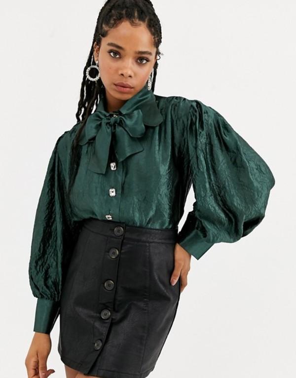 シスタージュン レディース シャツ トップス DREAM Sister Jane volume blouse with bow collar in metallic crinkle fabric Emerald