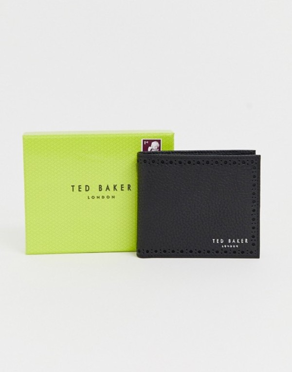 テッドベーカー メンズ 財布 アクセサリー Ted Baker Cobler card and coin brogue detail wallet in black Black
