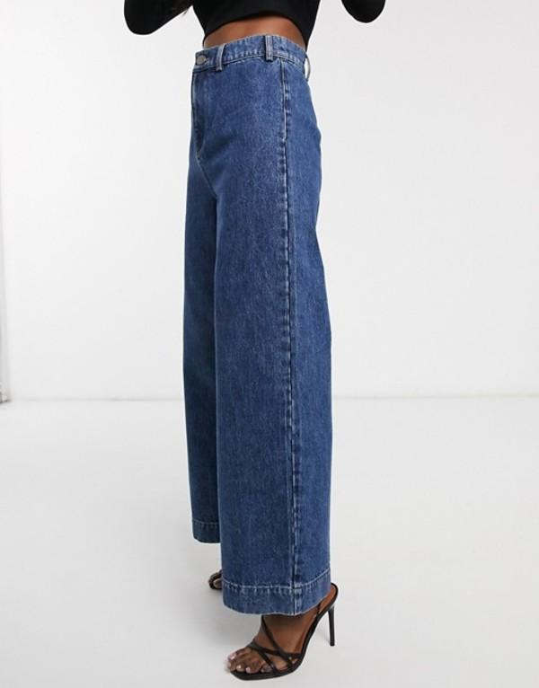 エイソス レディース デニムパンツ ボトムス ASOS DESIGN High rise 'easy' wide leg jeans in vintage mid wash Mid blue