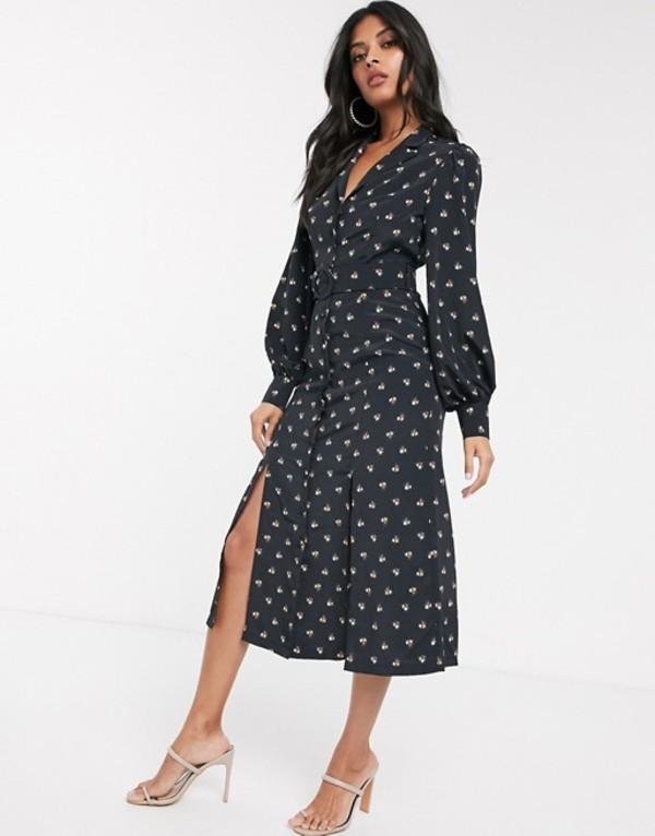 ファッションモンキー レディース ワンピース トップス Fashion Union shirt dress with belted waist in allover ditsy floral Black base floral