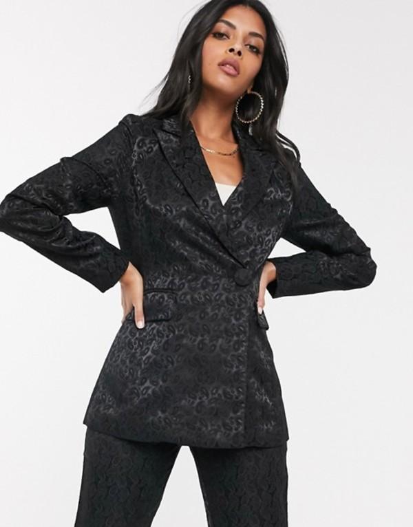ファッションモンキー レディース ジャケット・ブルゾン アウター Fashion Union tailored blazer in black paisley jacquard Black paisley jacqua