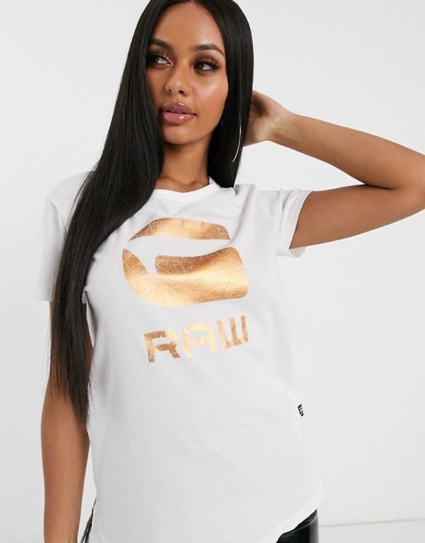 ジースター レディース Tシャツ トップス G-Star foil logo t-shirt Milk