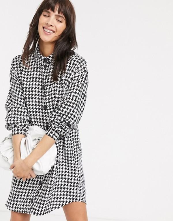エイソス レディース ワンピース トップス ASOS DESIGN boucle mini shirt dress Mono houndstooth