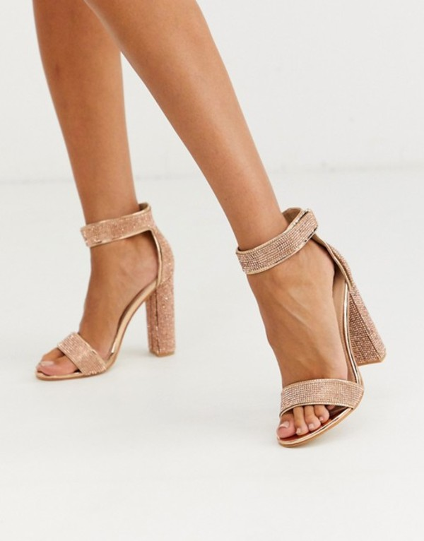 パブリックデザイア レディース ヒール シューズ Public Desire Drippin crystal block heeled sandal in rose gold Rose gold