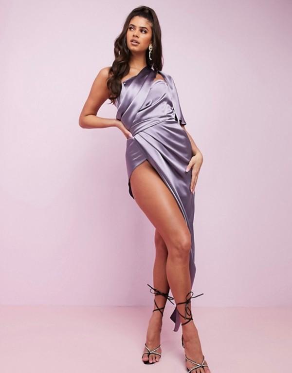 エイソス レディース ワンピース トップス ASOS DESIGN Luxe fallen one shoulder high low premium satin drape maxi dress with hidden boning Smoke