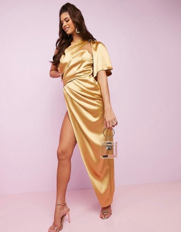 エイソス レディース ワンピース トップス ASOS DESIGN Luxe fallen one shoulder high low premium satin drape maxi dress with hidden boning Gold