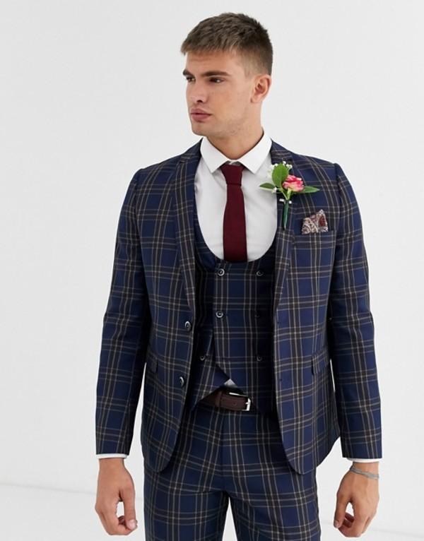 ハリー ブラウン メンズ ジャケット・ブルゾン アウター Harry Brown wedding slim fit blue and brown overcheck suit jacket Navy