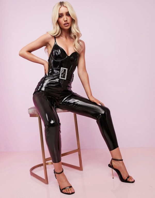エイソス レディース ワンピース トップス ASOS DESIGN Luxe corseted vinyl belted catsuit with embellished buckle Black