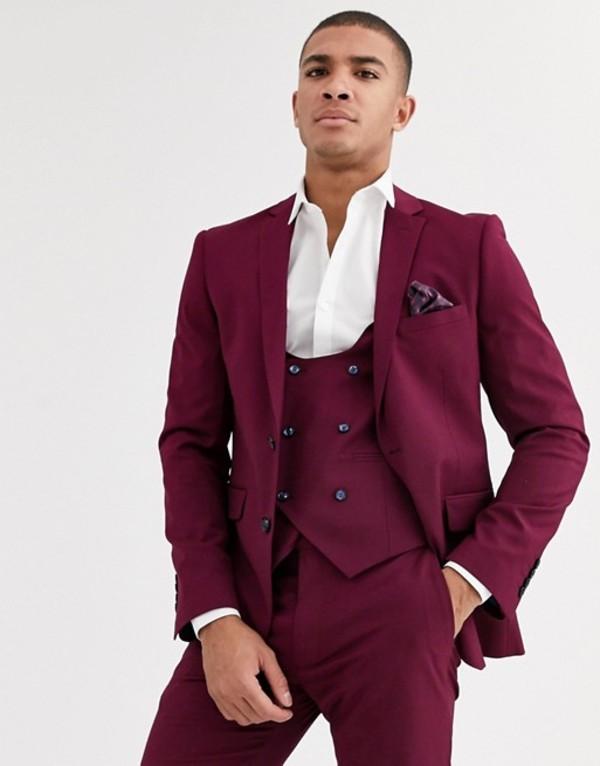 ハリー ブラウン メンズ ジャケット・ブルゾン アウター Harry Brown skinny fit stretch plain suit jacket Plum