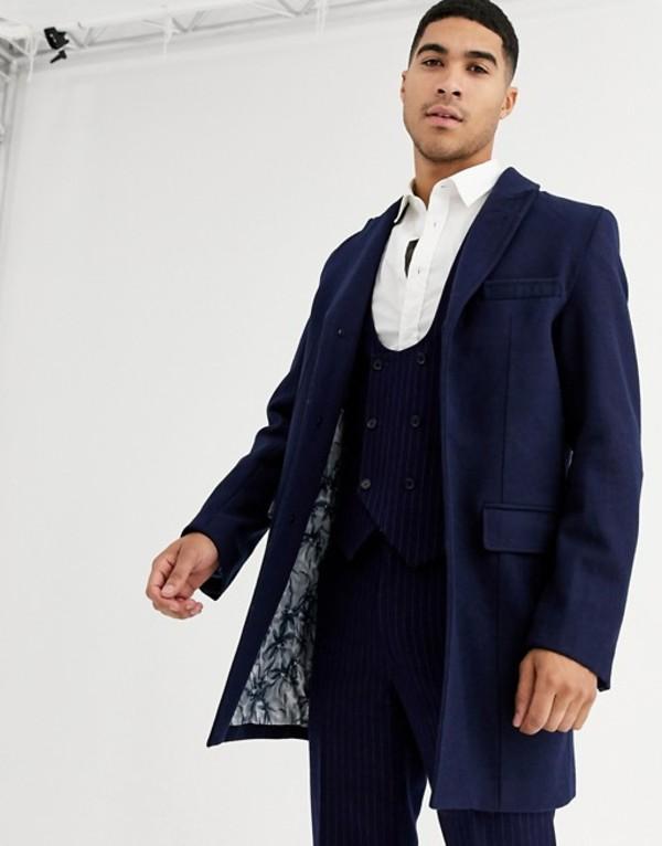 ハリー ブラウン メンズ コート アウター Harry Brown premium wool blend classic overcoat Navy