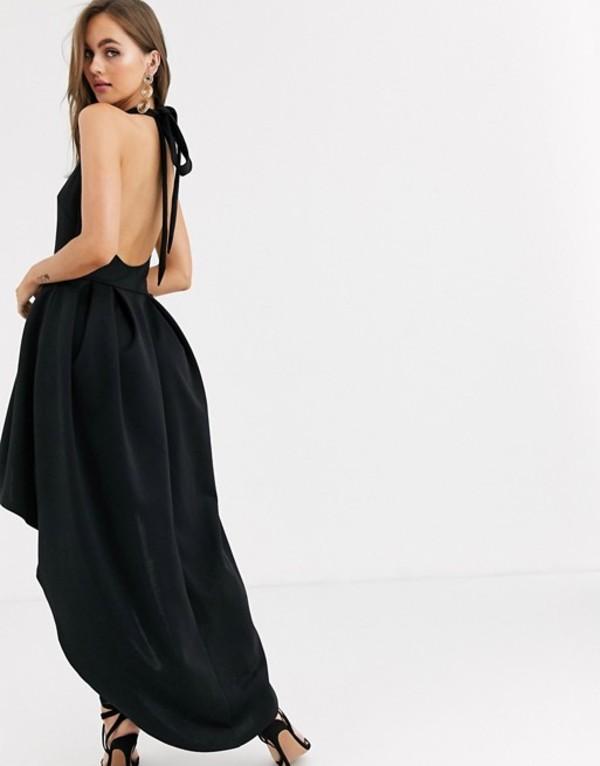 トゥルーバイオレット レディース ワンピース トップス True Violet Halter Plunge High Low Dress Black