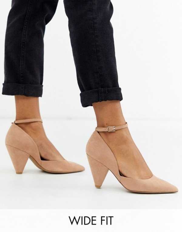 エイソス レディース ヒール シューズ ASOS DESIGN Wide Fit Speak Out pointed mid-heels in warm beige Warm beige