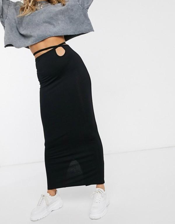 エイソス レディース スカート ボトムス ASOS DESIGN maxi skirt with tie waist Black