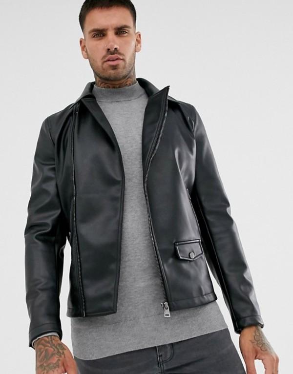 プルアンドベアー メンズ ジャケット・ブルゾン アウター Pull&Bear biker jacket in black Black