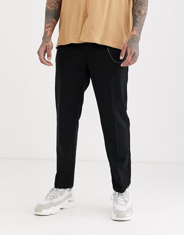 プルアンドベアー メンズ カジュアルパンツ ボトムス Pull&Bear tailored pants with chain in black Black