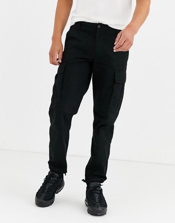 プルアンドベアー メンズ カジュアルパンツ ボトムス Pull&Bear utility cargo pants in black Black