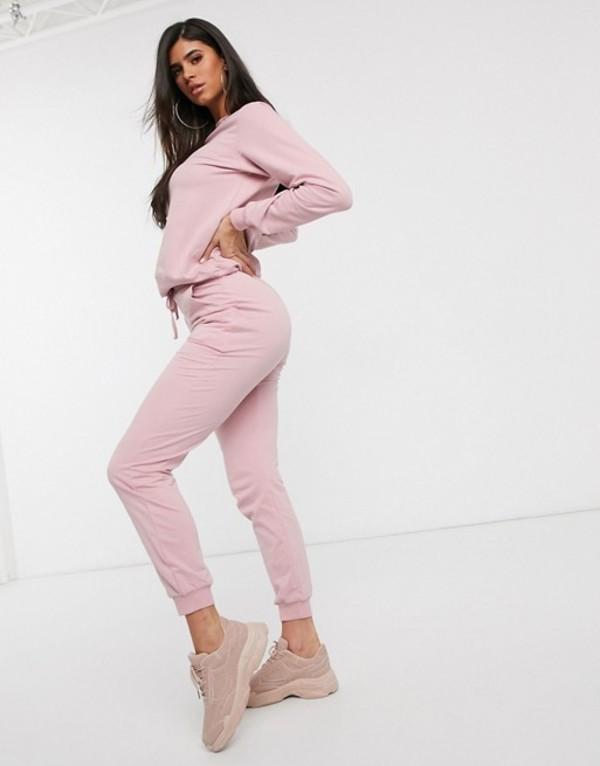 エイソス レディース パーカー・スウェット アウター ASOS DESIGN tracksuit ultimate sweat / jogger with tie Baby pink