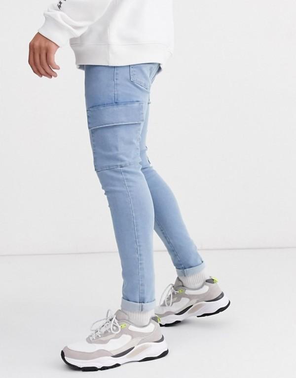 エイソス メンズ デニムパンツ ボトムス ASOS DESIGN spray on jeans in power stretch with cargo pockets in light wash blue Light wash blue