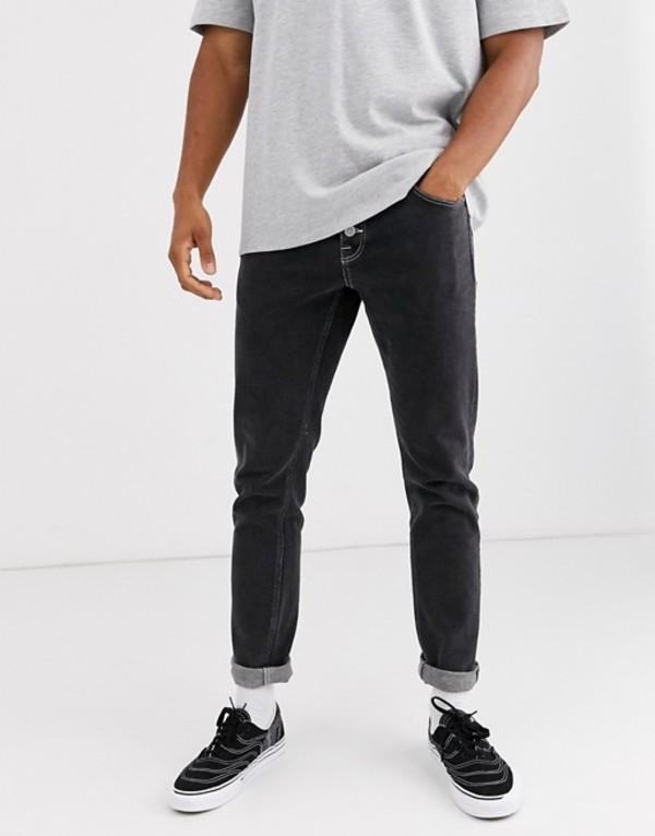 エイソス メンズ デニムパンツ ボトムス ASOS DESIGN stretch slim jeans with exposed button fly in retro black Washed black