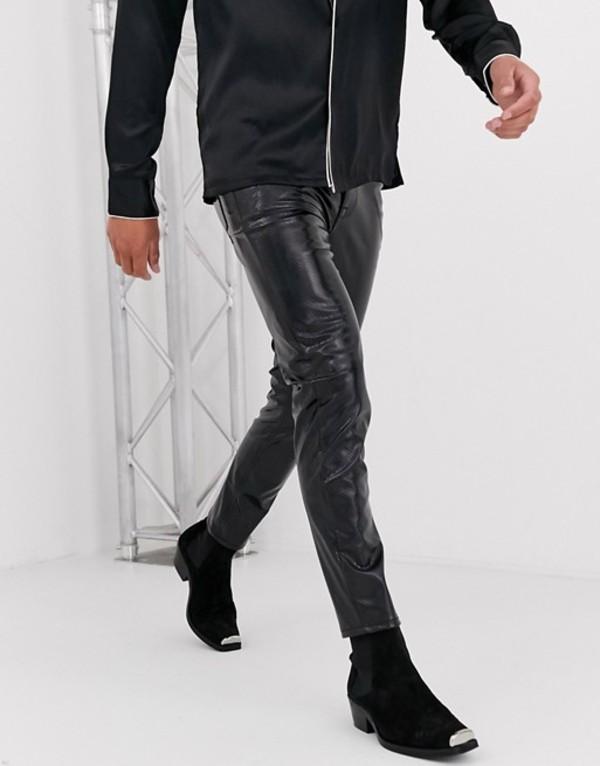 エイソス メンズ デニムパンツ ボトムス ASOS DESIGN skinny jeans in iridescent black snakeskin Black