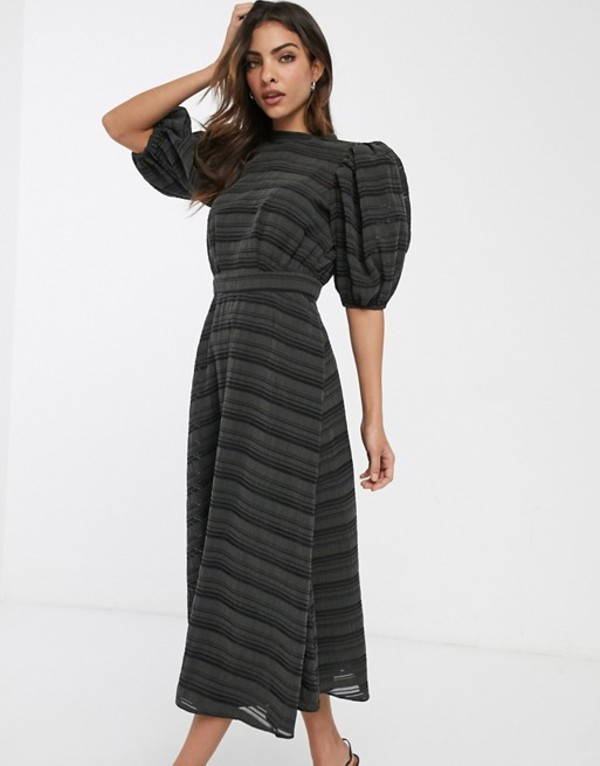 エイソス レディース ワンピース トップス ASOS DESIGN premium organza stripe midi dress with puff sleeves Khaki