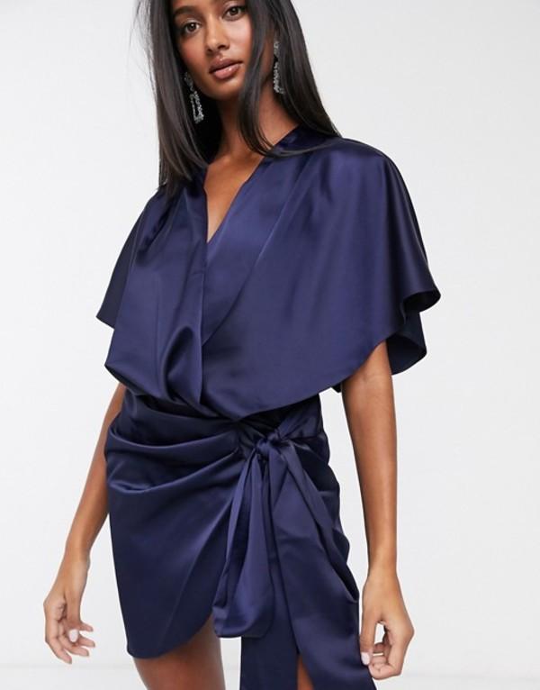 エイソス レディース ワンピース トップス ASOS DESIGN wrap kimono mini dress with tie waist Navy