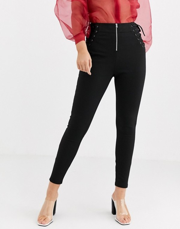 エイソス レディース カジュアルパンツ ボトムス ASOS DESIGN corset lace up skinny pants with contrast stitch detail Black